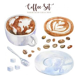 Hand getekend aquarel koffiekopje met latte-kunst, wereldkaart en hartvorm
