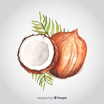 Hand getekend aquarel kokosnoot achtergrond