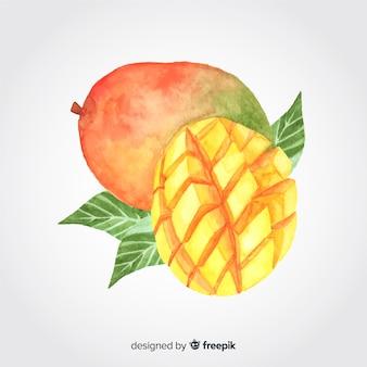 Hand getekend aquarel mango achtergrond