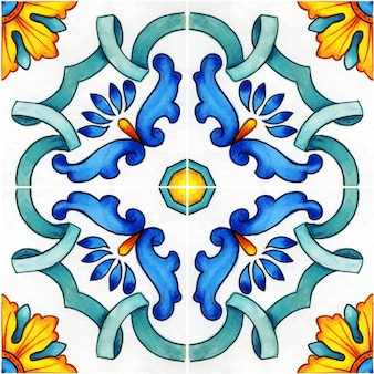 Hand getekend aquarel mediterrane siciliaanse traditionele tegels