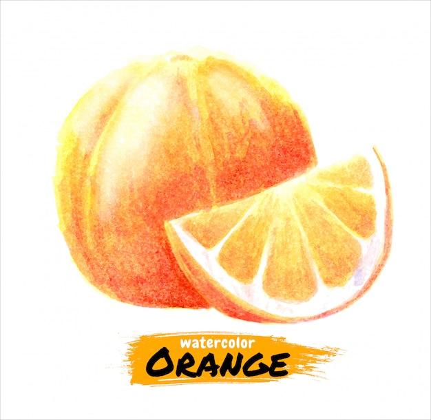 Hand getekend aquarel oranje schilderij op wit
