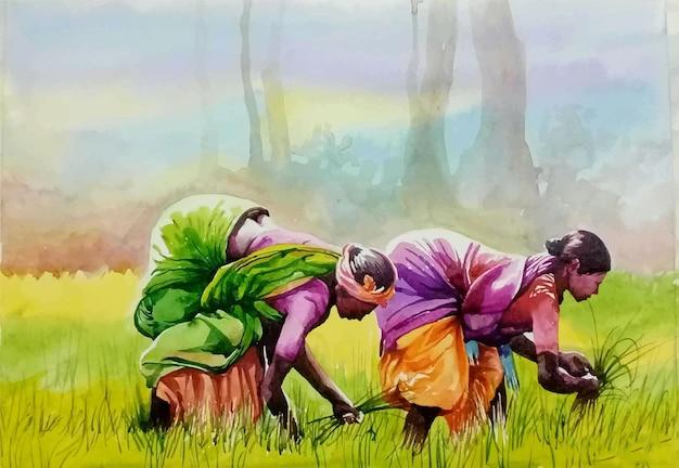 Hand getekend aquarel persoon in de veld-afbeelding