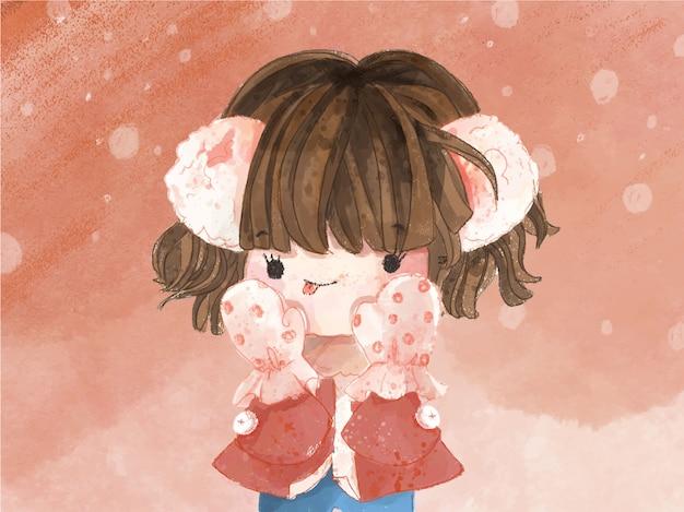 Hand getekend aquarel schattig meisje in winterthema. vector illustratie