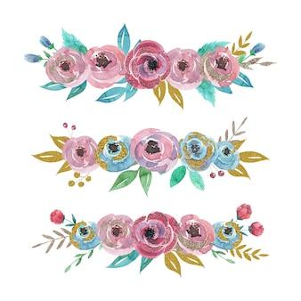 Hand getekend aquarel set bloemen composities met gouden bladeren