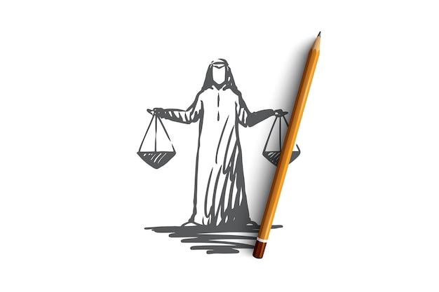 Hand getekend arabische rechter met weegschaal in zijn handen concept schets