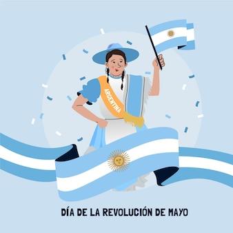 Hand getekend argentijnse dia de la revolucion de mayo illustratie