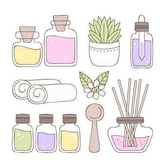 Hand getekend aromatherapie element pack