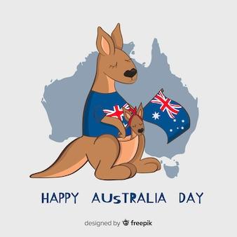 Hand getekend australië dag achtergrond