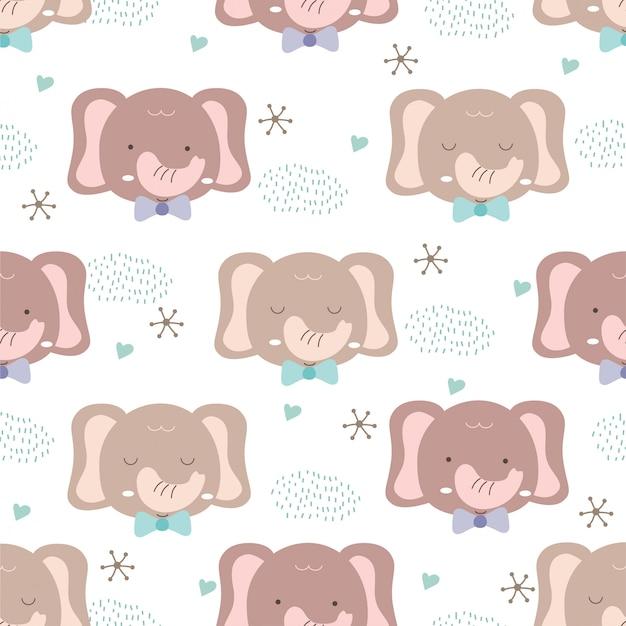 Hand getekend baby dierlijke stijl. schattig olifant cartoon doodle pastel patroon