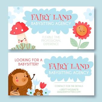 Hand getekend babysitbureau banners ontwerp