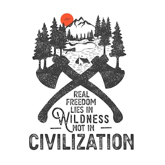 Hand getekend badge met berglandschap en inspirerende letters