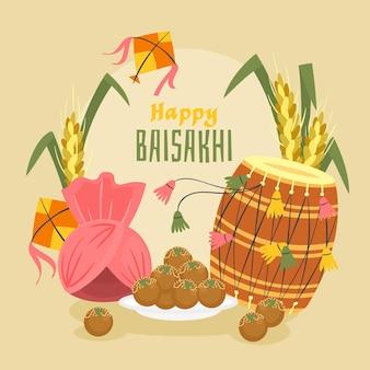 Hand getekend baisakhi illustratie