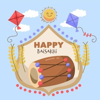 Hand getekend baisakhi illustratie Gratis Vector