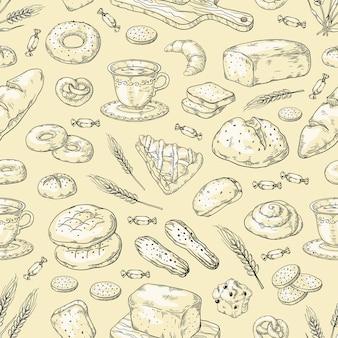 Hand getekend bakkerij patroon. vintage brood en gebak doodle schetsontwerp