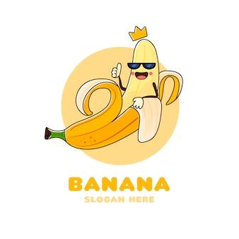 Hand getekend banaan karakter logo