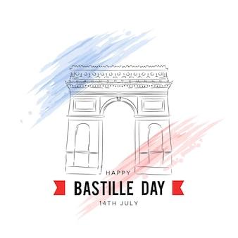 Hand getekend bastille dag achtergrond