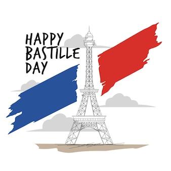 Hand getekend bastille dag concept