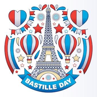 Hand getekend bastille dag illustratie