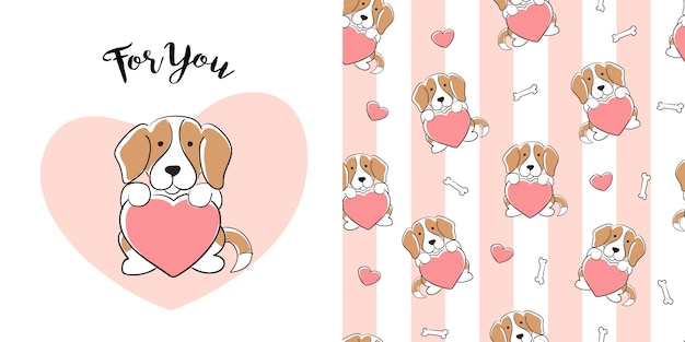Hand getekend beagle naadloos patroon