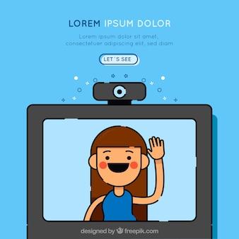 Hand getekend bestemmingspagina-ontwerp met webcam