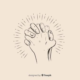Hand getekend biddende handen illustratie