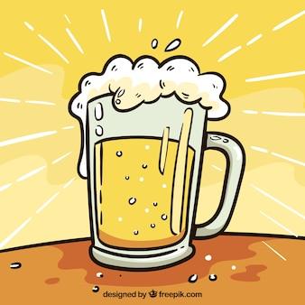 Hand getekend bier achtergrond