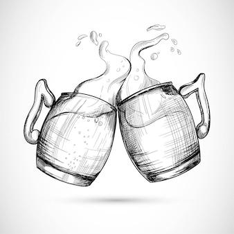 Hand getekend bier in glazen mok schetsontwerp