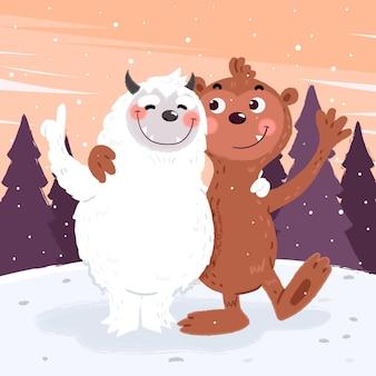 Hand getekend bigfoot sasquatch en yeti verschrikkelijke sneeuwpop illustratie
