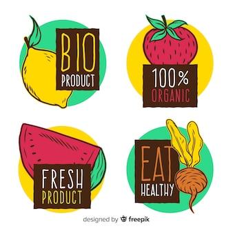 Hand getekend biologisch fruit label pack