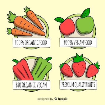 Hand getekend biologisch voedsel labels-collectie