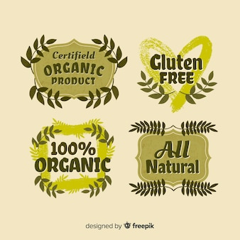 Hand getekend biologisch voedseletikettenpak
