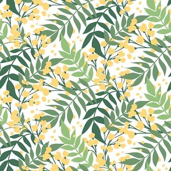 Hand getekend bladeren patroon