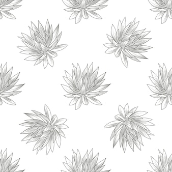 Hand getekend blauw agave naadloos patroon. vetplanten behang. vintage stijl graveren.