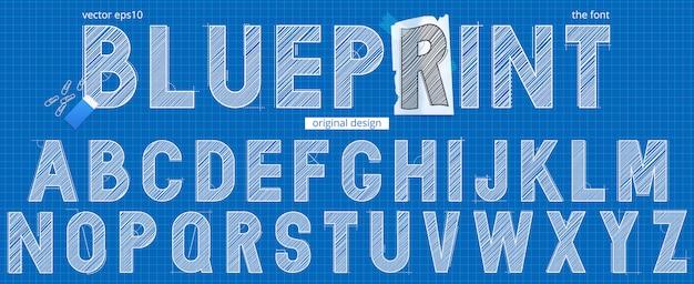 Hand getekend blauwdruk alfabet sjabloon