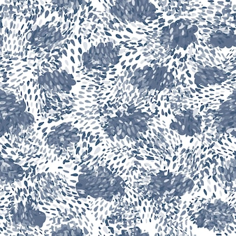 Hand getekend blauwe chaotische stippen naadloze patroon op witte achtergrond. abstracte vormen behang. ontwerp voor stof, textielprint, inpakpapier, kindertextiel. vector illustratie
