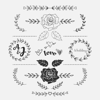 Hand getekend bloemen bruiloft element