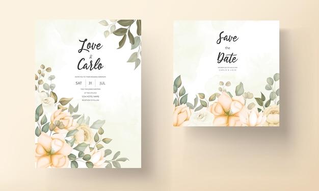 Hand getekend bloemen bruiloft uitnodiging kaartsjabloon