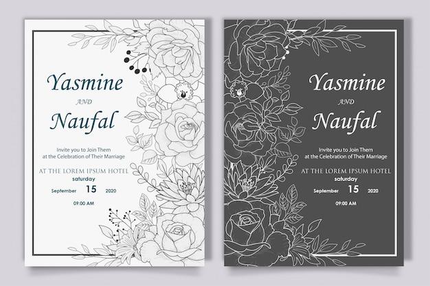 Hand getekend bloemen bruiloft uitnodiging ontwerp