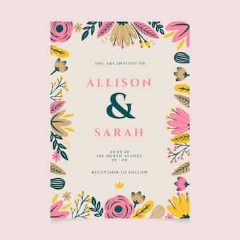 Hand getekend bloemen bruiloft uitnodiging sjabloon