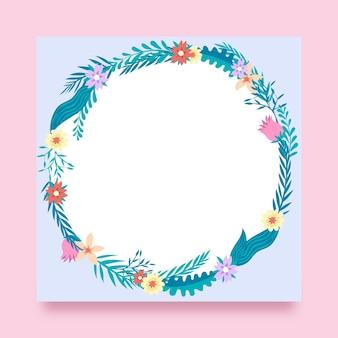 Hand getekend bloemen facebook frame