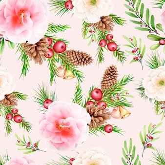 Hand getekend bloemen kerst naadloos patroon