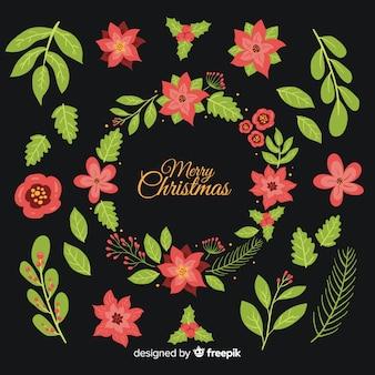 Hand getekend bloemen kerstcollecte