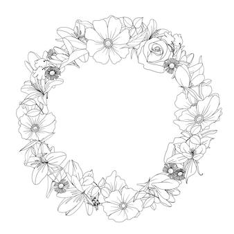 Hand getekend bloemen krans illustratie