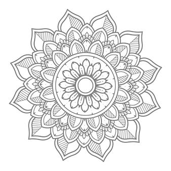 Hand getekend bloemen mandala illustratie