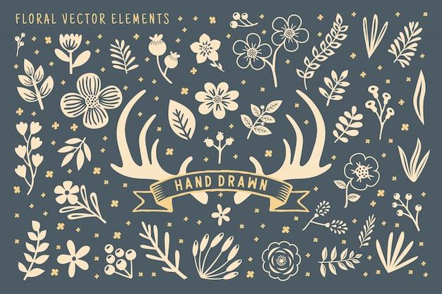 Hand getekend bloemenelement