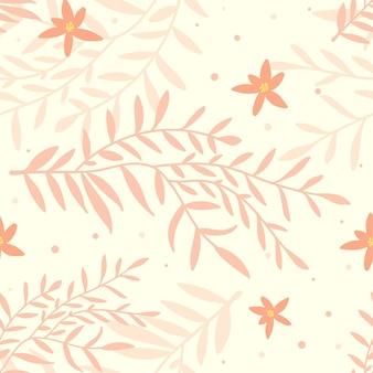 Hand getekend bloemmotief in perzikkleurige tinten