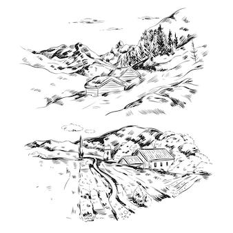 Hand getekend boerderij landschap