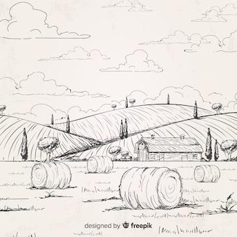 Hand getekend boerderijlandschap