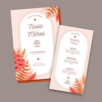Hand getekend boho bruiloft uitnodiging sjabloon