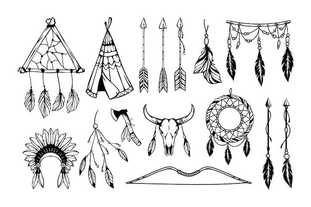 Hand getekend boho-stijl element collectie